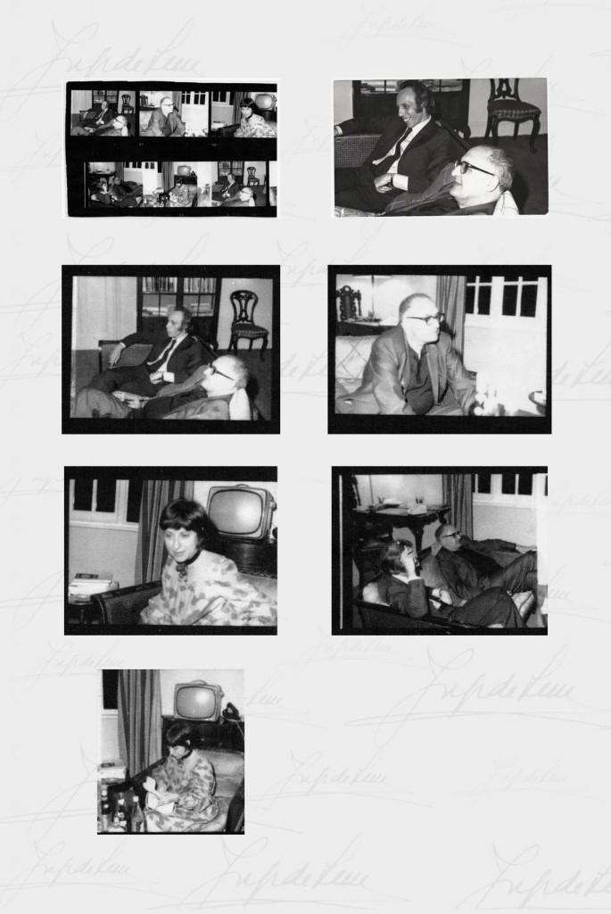 Fotografias tiradas por Ana Hatherly, dos amigos Jorge de Sena, Helder e Suzette Macedo em sua casa londrina.
