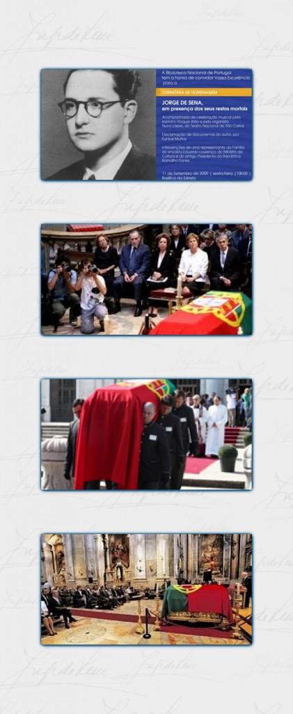 Imagens da cerimônia de trasladação dos restos mortais de Jorge de Sena para o Cemitério dos Prazeres, em 11 de setembro de 2009.