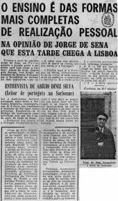 Jorge de Sena: Entrevista (22/12/1968)