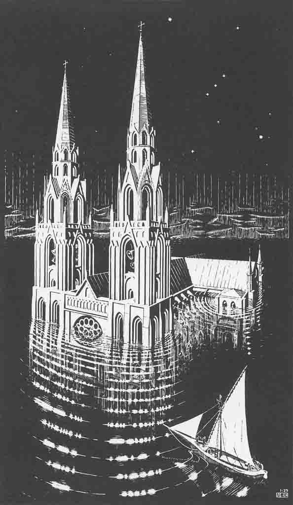 """""""La cathédrale engloutie"""" (1929), de M. C. Escher"""